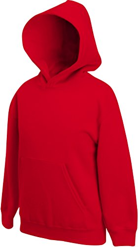 Fruit of the Loom Kinder Kapuzen-Pullover, Rot - Rot, 152