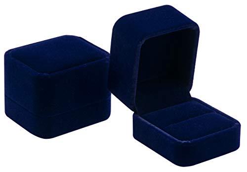 Pokofo, scatola regalo classica in velluto per gioielli, anello di fidanzamento e orecchini. e velluto, colore: Blu, cod. 0298