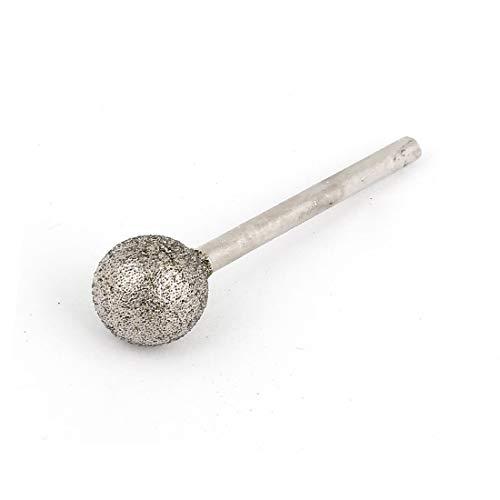 X-DREE Silver Tone Alloy drill hole Round Ball Shaped Head Diamond Mounted Point Grinder 2.35mm x 10mm(Silver Tone Alloy Shank Bola redonda en forma de cabeza Diamantador de punto montado amoladora 2.