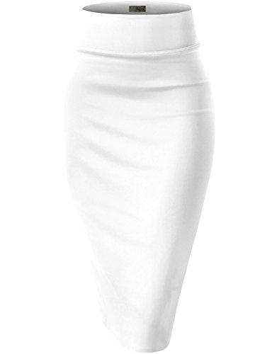 Womens Pencil Skirt for Office Wear KSK43584X 1139 White 2X