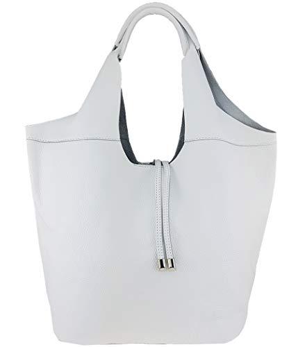 Freyday Echtleder Shopper mit Schmucktasche in vielen Farben Schultertasche Damen Henkeltasche (Weiß)