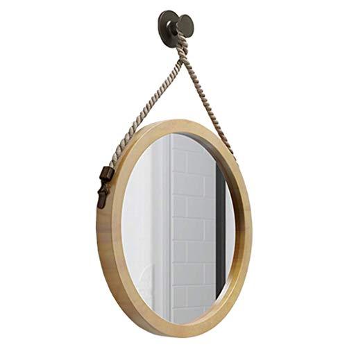 NHLBD LIHAIHAI Beautiful Fashion Retro Pared Colgante de Madera Espejo con cáñamo Cuerda Cuerda, Espejo Redondo Decorativo for Sala de Estar, Puerta de Entrada, Pasillo, y (Size : 40cm)