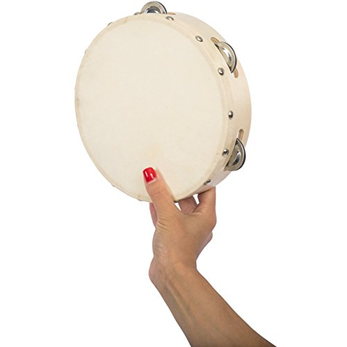 Tambourine for Church Adults Kids - 8 inch Tamborine Drum with Metal Jingles