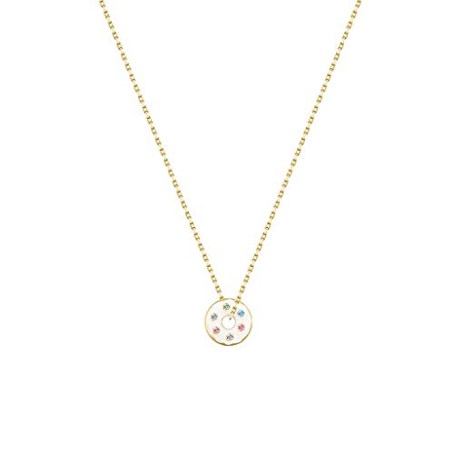 zxb-shop Collares 925 Dona Colgante, Collar del Encanto del círculo de 18 Pulgadas Collar de Doble Cara-El Uso de la Cadena de clavícula joyería (Blanco) Regalos cumpleaños para Esposa, Madre