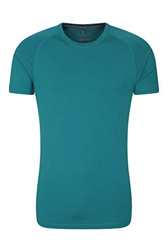 Mountain Warehouse Agra Camiseta mélange para Hombre - Ligera, cómoda, con Cuello Redondo, de Secado rápido y protección UV - para Viajar y Caminar Verdes Aguas Oscuro L