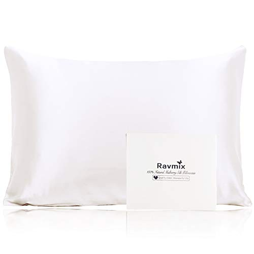 Ravmix 100% Pure Natural Mulberry Silk Pillowcase Queen for Hair and Skin with Hidden Zipper, 21 Momme 600TC Hypoallergenic Soft Breathable Pillow Cover 1pcs (20×30inches, Ivory White)