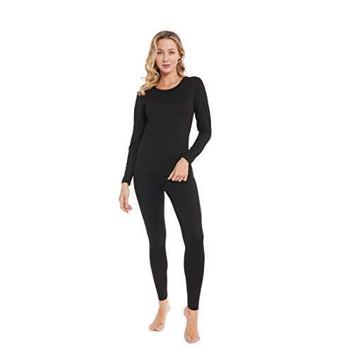 Women's Ultra Soft Thermal Underwear Long Johns Set Base Layer Skiing Winter Warm Top & Bottom (Black M)