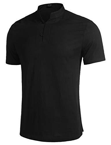 COOFANDY-Mens-Cotton-Linen-Henley-Shirts-Short-Sleeve-Loose-Summer-Beach-Yoga-Casual-Shirt-Tops
