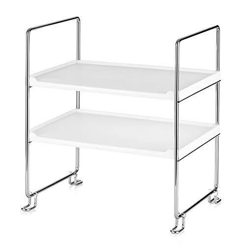 2-Tier Independiente apilable Organizador Shelf para Accesorios Cocina Hogar
