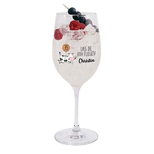 Herz & Heim® Bedrucktes Weinglas zum Geburtstag mit Aufdruck deines Wunschnamen - Lass die Kuh fliegen!