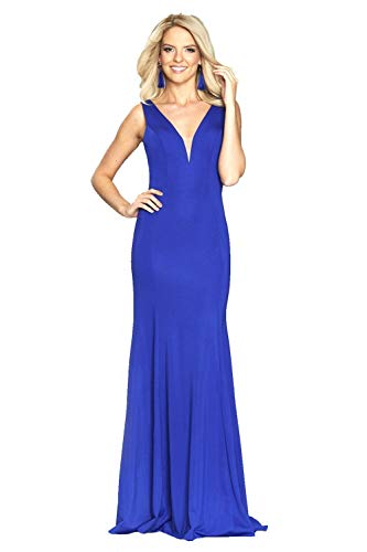 Tiffanys Illusion Prom Royal Blue Zara Jersey Pruik Jurk