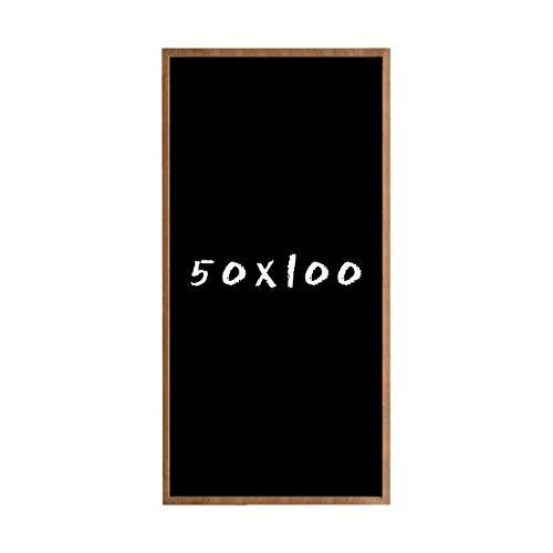 Postergaleria Kreidetafel für Wand | Wandtafel aus Kiefernholz (HDF) in Schwarz | mit Kreide und Einer Schnur zum Aufhängen | für Küchen, Cafés, Geschäfte (50x100 cm, Braun)