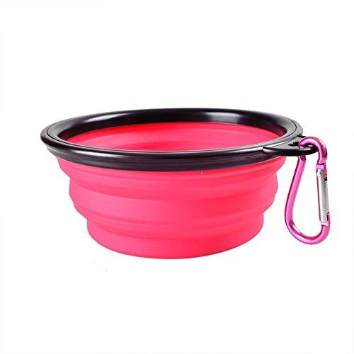 YIQI Cuenco de Viaje Plegable para Mascotas, Cuenco Plegable de Silicona para Perros, Cuenco de Viaje portátil para Comida, Cuenco para Beber, Cuenco para Mascotas, 350 ml (1 Pieza Rosa)