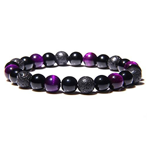 Natural Tiger Ojo Beads Pulseras Hombres para Protección de Salud Magnética Mujeres Joyería Obsidiana Hematita Pulsera Pulsera Hombre (Length : 10mm, Metal Color : 22)