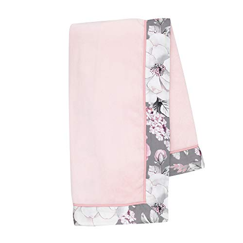 Lambs & Ivy Signature Botanical Baby Pink Watercolor Floral Fleece Baby Blanket