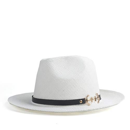 LiWen Zheng Moda Verano Mujer Hombre 2019 Sombrero de Paja Sol Elegante Reina Panamá Sombrero Caballero Papá Padrino Sombrero de Fedora Sombrero de Playa (Color : White, Size : 56-58cm)