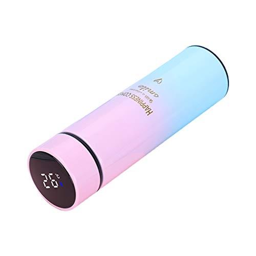 Njuyd - Termo de aislamiento de color degradado de acero inoxidable con capacidad de aspiración inteligente, botella de agua portátil, aislada, para casa, escuela, oficina, viaje, taza de café