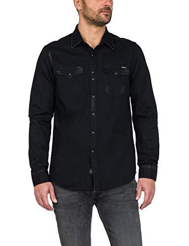 REPLAY Camisa de hombre negra de tela vaquera con efecto descolorido, art. M4998 Negro M