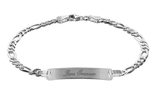 trendor 88650 Gravur-Armband für Junge Leute 925 Sterlingsilber 19 cm lang inklusive Wunsch-Gravur modischer Gravurschmuck für Damen und Herren, 88650-19