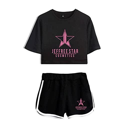 CCEE Camiseta Jeffree Star Ombligo Pantalones Cortos Casuales 2021 Nuevo Traje Sexy De Dos Piezas Harajuku Algodón Más Poliéster Moda Transpirable