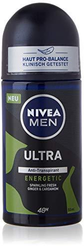 NIVEA MEN Desodorante Ultra Energetic en roll-on (50 ml), antitranspirante que protege contra la humedad de las axilas, desodorante con 48 h de protección y aroma masculino.