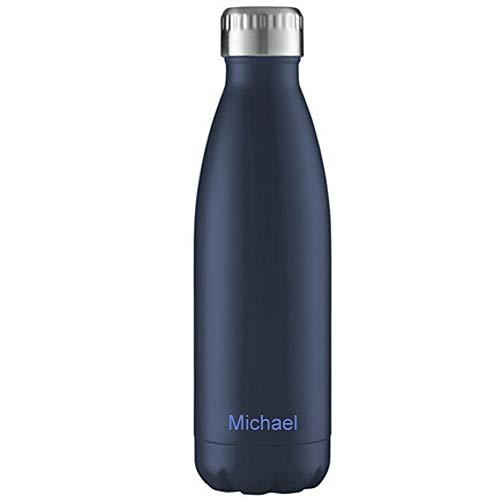 FLSK Isolierflasche MIT Gravur (z.B. Namen) 1000ml Midnight Blue Dunkelblau - Trinkflasche hält 18 Stunden heiß und 24 Stunden kalt - 100% Dicht - Kohlensäurefest