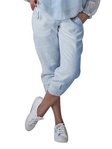 Onsoyours Damen Baumwolle Leinen Capri Hose Sommer Leicht 3/4 Länge Kurze Baggyhose Chino Hose Lässig Einfarbig Strandshorts Stoffhose Freizeithose Blau Medium