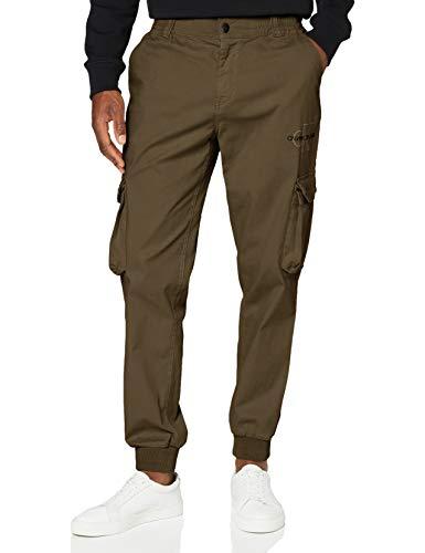 Calvin Klein Cargo Slim Mixed Med Cuffed Pantalones, Verde (New Basil MSP), XS para Hombre