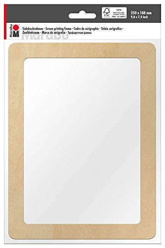Marabu 0173000000060 - Siebdruckrahmen aus Holz, ideal für Textildruck mit wasserbasierten Druckfarben, geeignet für Drucke auf hellen und dunklen Textilien, ca. 25 x 18,8 x 0,5 cm