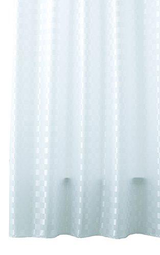 Lashuma Badewannenvorhang QUADRETTO Weiß, Textil Wannenvorhang 180 x 200 cm, Karierter Duschvorhang mit Ringen Blickdicht