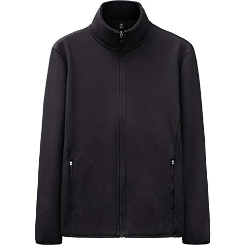 WLZQ Mens Jacket Fleece Sweater Autumn and Winter Mens Jacket Stand-up Collar Hooded Sweater Mens Cotton Jacket Jacket Black