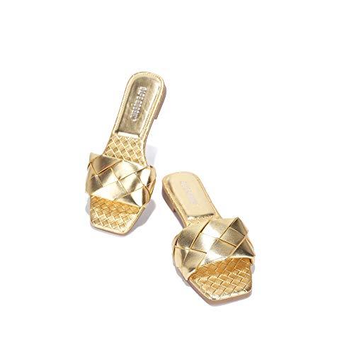 Cape Robbin Deja Sandals Slides for Women, Woven Womens Mules Slip On Shoes - Gold Size 11