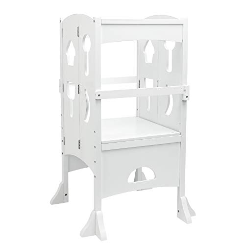 YOUNIS Wooden Kitchen Step Stool for Kids, Toddlers Collapsible Tower for Kids Folding Stool, No-Slip Design Kitchen Safety Cooking Standing Stool for Children - White