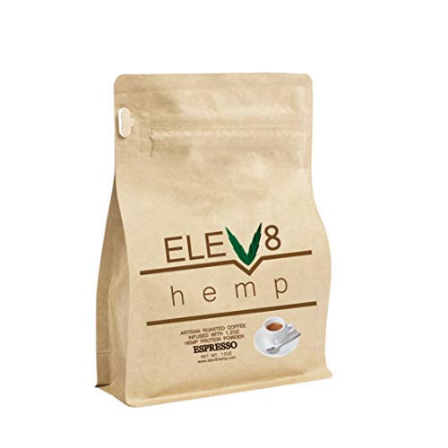 Elev8 Hemp Artisan Roasted Premium Hemp Coffee - 12 oz Ground adds the Highest Quality Certified Hemp to Your Favorite Cup of Coffee. Full Medium Roast. (Amazing Espresso)