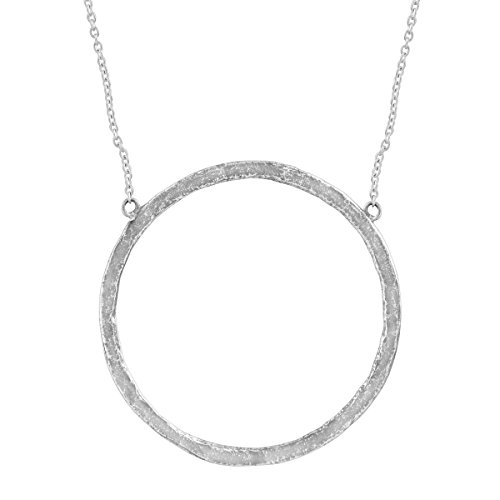 "Silpada 'Duomo' Open Circle Necklace in Hammered Sterling Silver, 16"" + 2"""