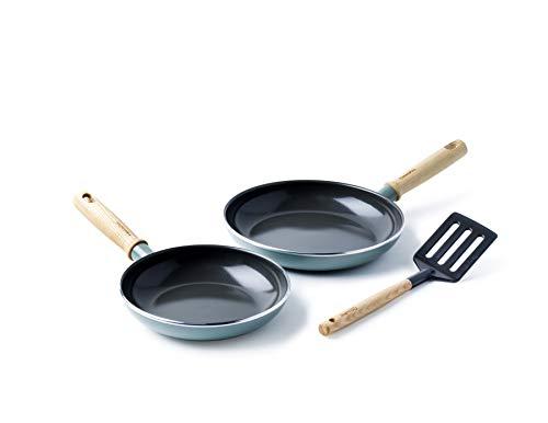 GreenPan Pfannenset Pfanne Induktion Beschichtet, Toxinfreies Kochen, Ofen- und Spülmaschinengeeignet Inkl. Pfannenwender - 20/24 cm, Blau