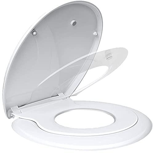 Abattant WC Familial, MUJIUSHI Lunette de Toilette avec Siège Enfant Magnétique, Frein de Chute et Charnière Réglable, Abattant WC en Forme de O, Siège de Toilette Familial pour Enfant et Adulte