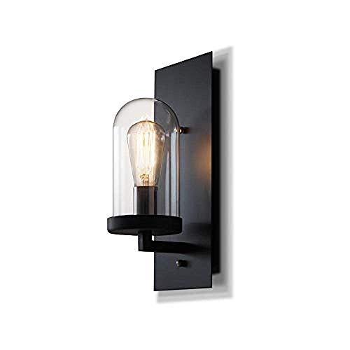 Sencillo pero bonito lámpara de pared Aplique de pared de hierro negro con luz simple con pantalla de vidrio transparente, lámpara de pared for iluminación del hogar for comedor, mesita de noche, sala