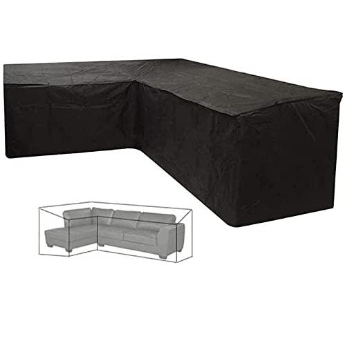 QWEQTYUW Fundas para Muebles Cubierta de Mesa de jardín Cubierta de Lona Impermeable para Muebles de jardín para Sala de Estar y jardín Fundas para Muebles de Patio, Negro-L-300 * 300 * 98cm