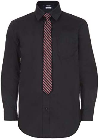 Arrow 1851 Boys Big Aroflex Long Sleeve Stretch Dress Shirt with Tie Black X Large 14 16 product image