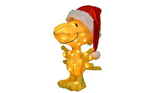 Product Works Peanuts 3D Pre-Lit Woodstock in Santa Hat Christmas Yard Art, 18-Inch, 35 Lights