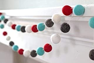 Winter Christmas Felt Ball Garland- Red, Turquoise Blue, Charcoal, White- 1