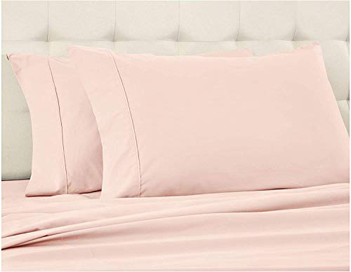 """800 Thread Count 4pc Luxury Sheet Set, 100% Egyptian Cotton, Breathable, Soft & Silky Sateen Weave, Fits Mattress Upto 24"""" Deep Pocket, Best Bed Sheets Set - (Queen Size, Blush Solid)"""
