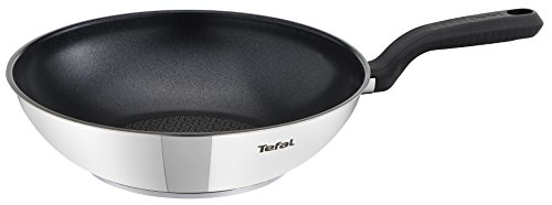 Tefal Comfort Max Stainless Steel Non-stick Wok, 28 cm - Silver (Kitchen & Home)
