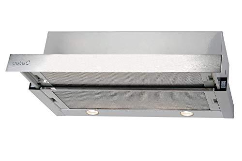 Cata - Campana extractora, Modelo TF 2003 DURALUM 70, Campana para cocina con 2 niveles de extracción, Panel de control mecánico, Acabado en acero inoxidable