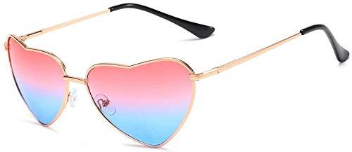 Hartvormige zonnebril voor mannen en vrouwen, met gepolijste gouden afwerking, UV400-bescherming, zonnebril, voor mannen en vrouwen, kleuren Roze en Blauw