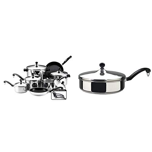 Farberware Classic Stainless Steel Cookware Pots and Pans Set, 15-Piece,50049,Silver & Classic Stainless Steel Saute Fry Pan with Lid, 2.75 Quart, Silver