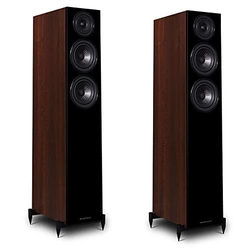 """Wharfedale Diamond 12.3 Dual 5"""" 2.5-Way Tower Floor Standing Speaker, Pair, Walnut"""