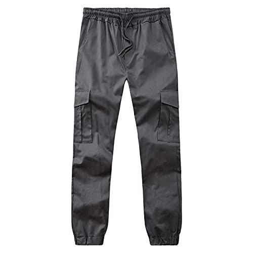Pantalones Casuales para Hombre Four Seasons Moda Pierna Recta Casual Juvenil Cómodo Pantalones Sueltos de Todo fósforo Color sólido con Bolsillos y cordón L