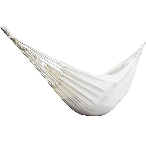 ZJSXIA Hamacas al Aire Libre Una Hamaca de algodón orgánica Blanca Doble Dos Personas Hamaca para Patio Porche jardín Backyard Lounging-a Hamaca Colgante (Color : A)